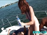 Drunk girls have sex on boat